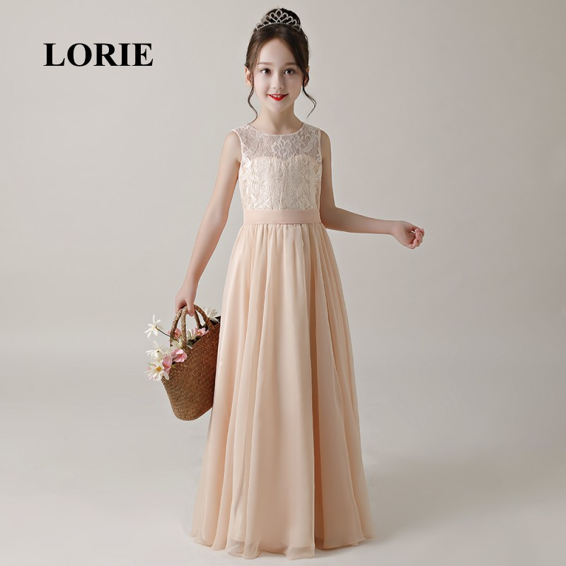 LORIE Long   Flower     Girl     Dresses   O-Neck A Line Decorated with Sahses Lace   Girl   Party   Dresses   for   Girl   Pageant Free Shipping