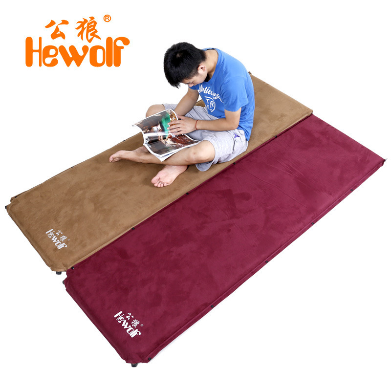 2Pcs 1lot Hewolf 6 5cm thick suede automatic inflatable cushion moisture proof mattress outdoor camping tent