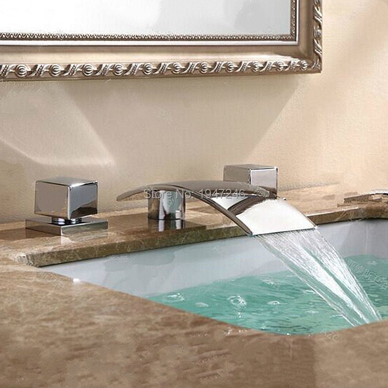 Factory Direct New Arrival Luxurious Unique Design Deck Mounted Bathroom Basin Sink Mixer Tap Chrome Waterfall Vessel Faucet bathroom waterfall spout deck mounted chrome sink basin faucet mixer tap ewo handles