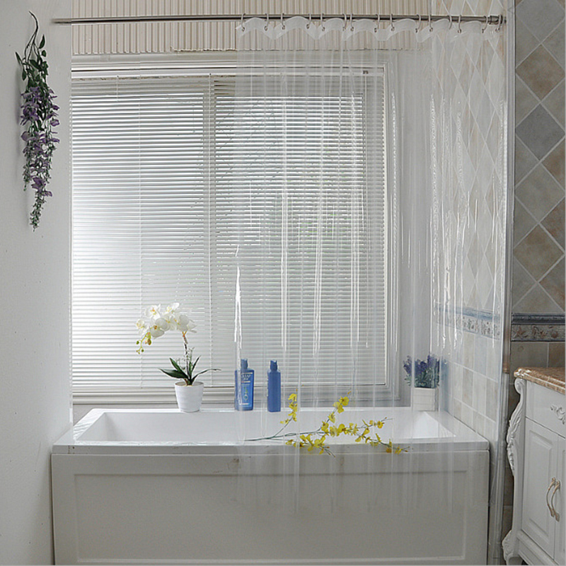 Us 7 44 14 Off Waterproof Transpa Shower Curtain White Clear Bathroom Luxury Bath With Hooks Plastic Polyester In