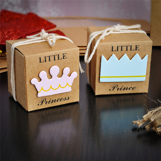 12pcslot prince princess label paper candy boxes baby shower birthday party favor box new