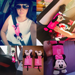 Image 2 - 1 Pair Cute Cartoon Car Sefety Seat Belt cover Children Seat belt Shoulder Pads Protection Plush Padding Auto Accessories gifts
