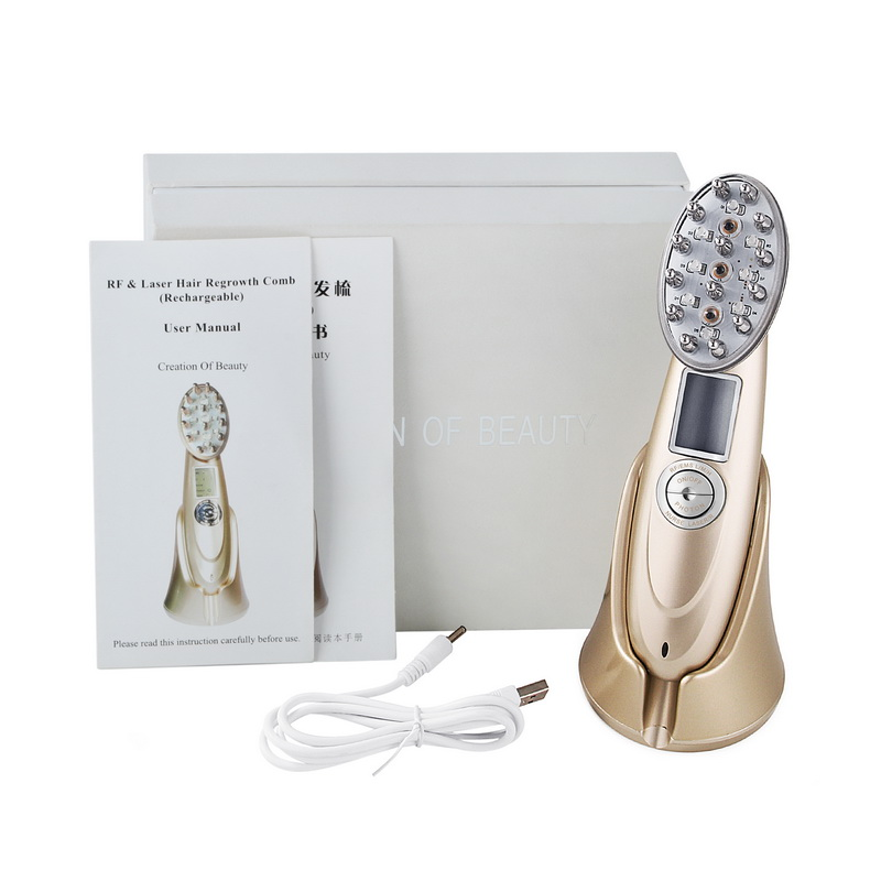 Anti Hair Loss Comb RF EMS Nurse LED Photon Laser Stimulate Hair Regrowth Brush Massager Head Scalp Repair LCD Rechargeable laser comb treatment fast activate hair follicles hair regrowth micro current scalp massage instrument for thinning hair
