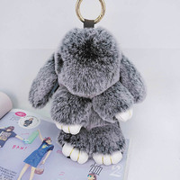 1Pcs Puff KeyChains Cute Rabbit KeyChains Kids Womens Personalised Rings Fluffy Fur KeyChains Car Bag Santa