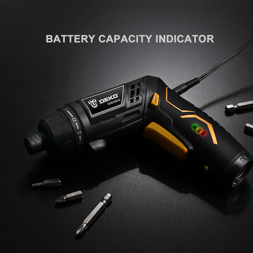 Image 5 - DEKO DCS3.6DU2 S1 Cordless Electric Screwdriver Rechargeable Power Screwdriver Household DIY Twistable Handle Wireless LEDTorch-in Electric Screwdrivers from Tools on