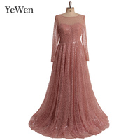 Plus Size Sequined Pink Green White Black Burgundy Beads Evening dress 2019 Long Sleeves robe de soiree Party formal dresses