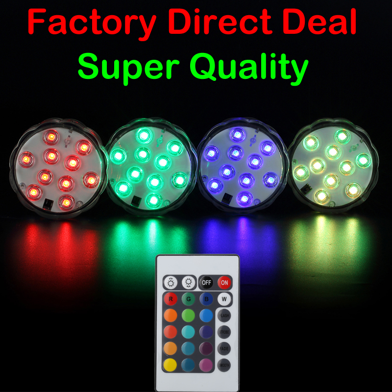 Wedding Table decoration LED Battery light Waterproof light Submersible LED Light With Remote Control for LED wedding decor