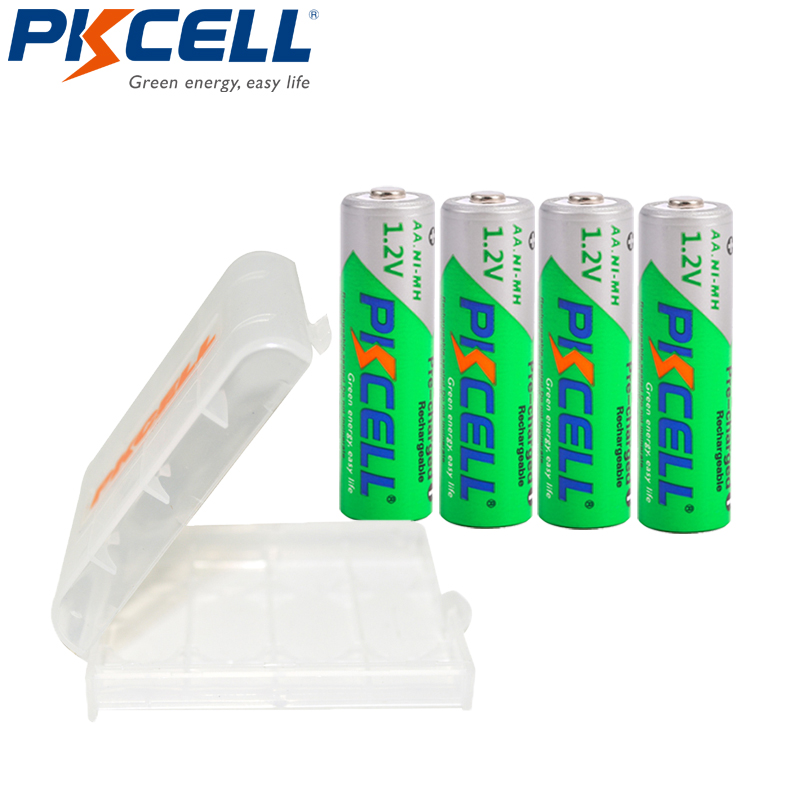 4PCS PKCELL NiMH Rechargeable Battery AA 2200mAh 1.2V Low Self Discharge Batteries For Camera Toys Packed With 1Battery Box
