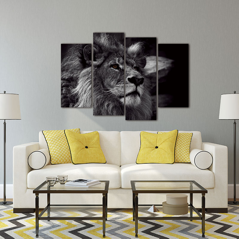 Lion Head Portrait Wall Art Painting Black And White Gray