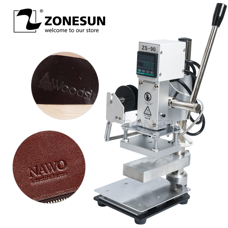 ZONESUN Hot Foil Stamping Machine Manual Bronzing Machine With Working Table for PVC Card leather and paper Wallet bag цена