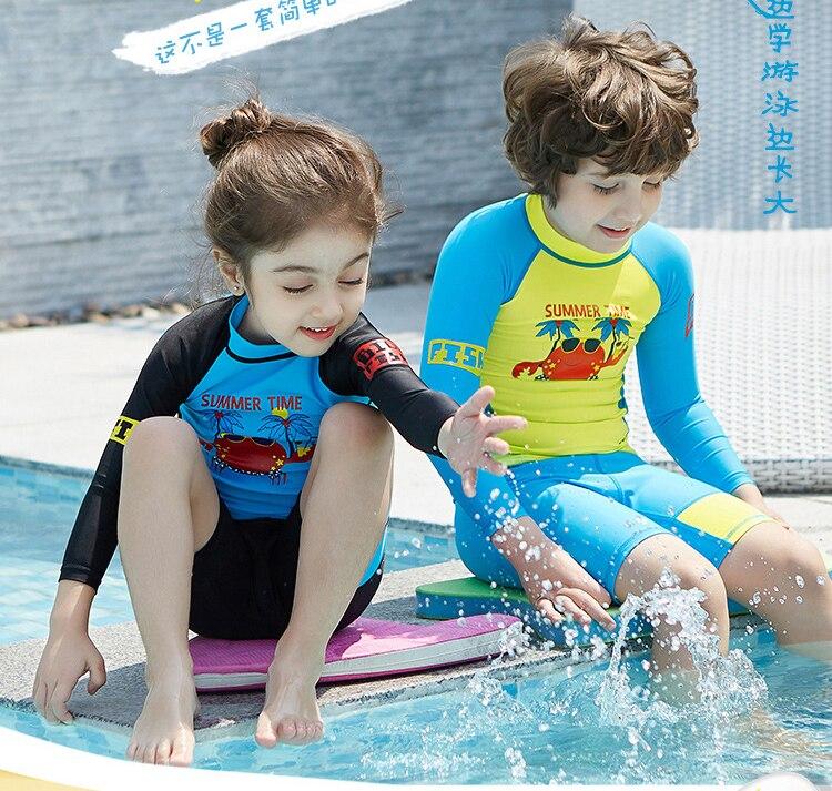 b7b77d9884 crab 3-9 years old girls swimsuit boys children Swimwear Summer Beach Bathing  Suit Children long sleeves Kids Girl Swimsuit 358. 4. 1 ...