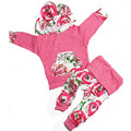 2pcsToddler Baby Girls Clothes New Cute Rose flowers Cotton Hooded Top Pant Outfit kids infant clothes Newborn baby clothing Set