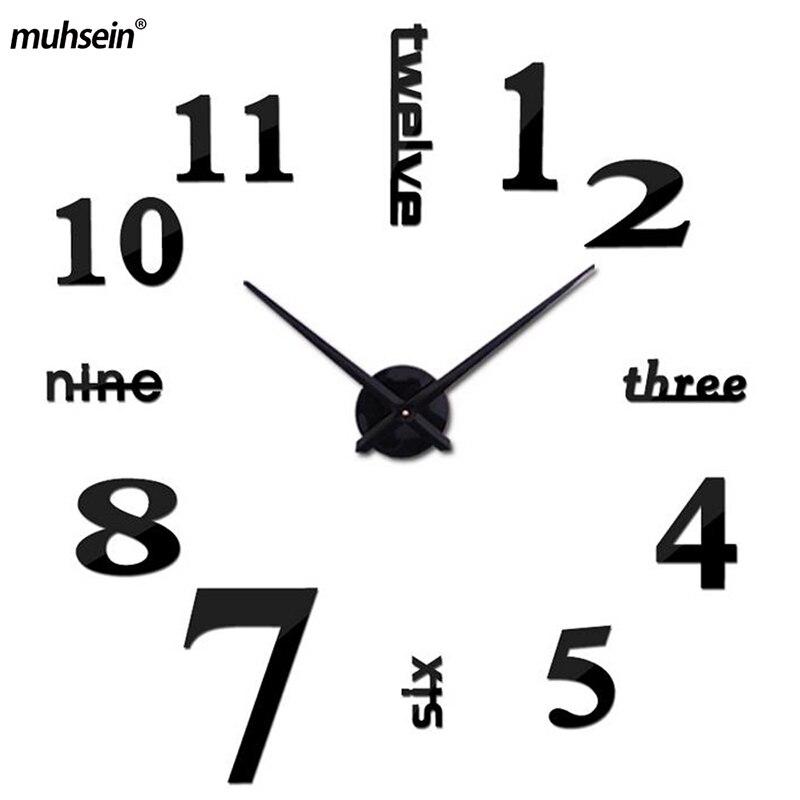 2017 muhsein grand BRICOLAGE Horloge Murale Acrylicl Miroir numérique horloge 3D horloge murale Personnalisée Numérique Montres Horloges Livraison gratuite
