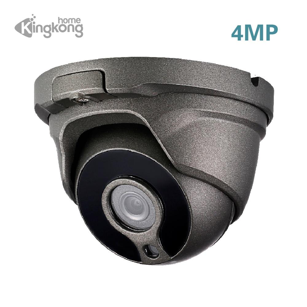 Kingkonghome H.265 4MP IP Camera POE 1080P Security Camera ONVIF CCTV Camera Surveillance Outdoor Anti-vandal Dome IP Cam 2 8 12mm h 265 uhd 4 720p 2k ip camera outdoor mini dome with poe cable kit 4mp 1080p onvif hd security cctv ganvis gv t454v pk