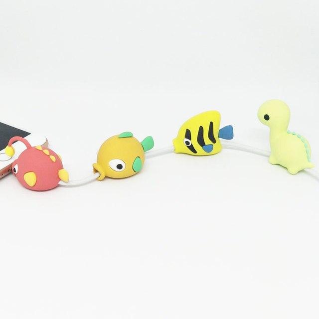 Protector de Cable Animal lindo Cable de protección de dibujos animados Mini Cable de carga de silicona para el Cable del cargador del iphone