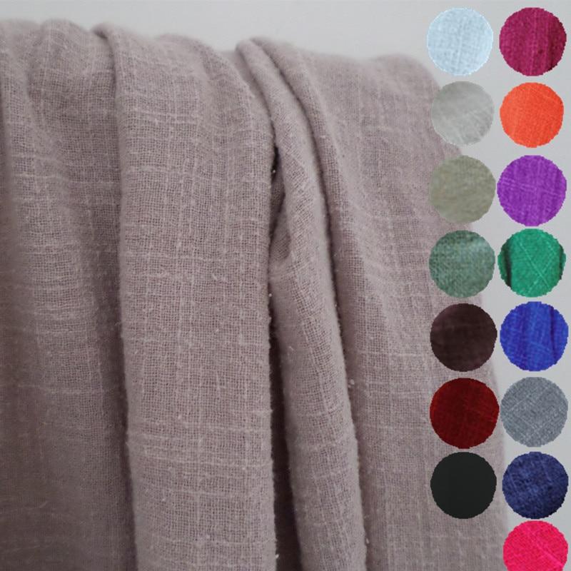 1 meter crêpe slub stof voor het naaien van etnische gerimpelde linnen katoenen stoffen stevige doek gezonde rimpels DIY telas fat quarters