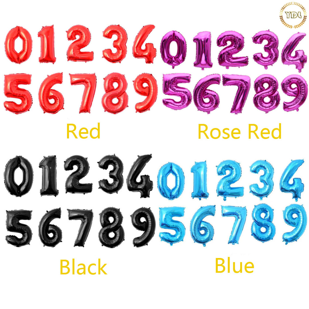 New size 32inch number Foil Balloons gold/silver digital helium ballon Birthday party wedding Decoration Christmas supplies-in Ballons & Accessories ...