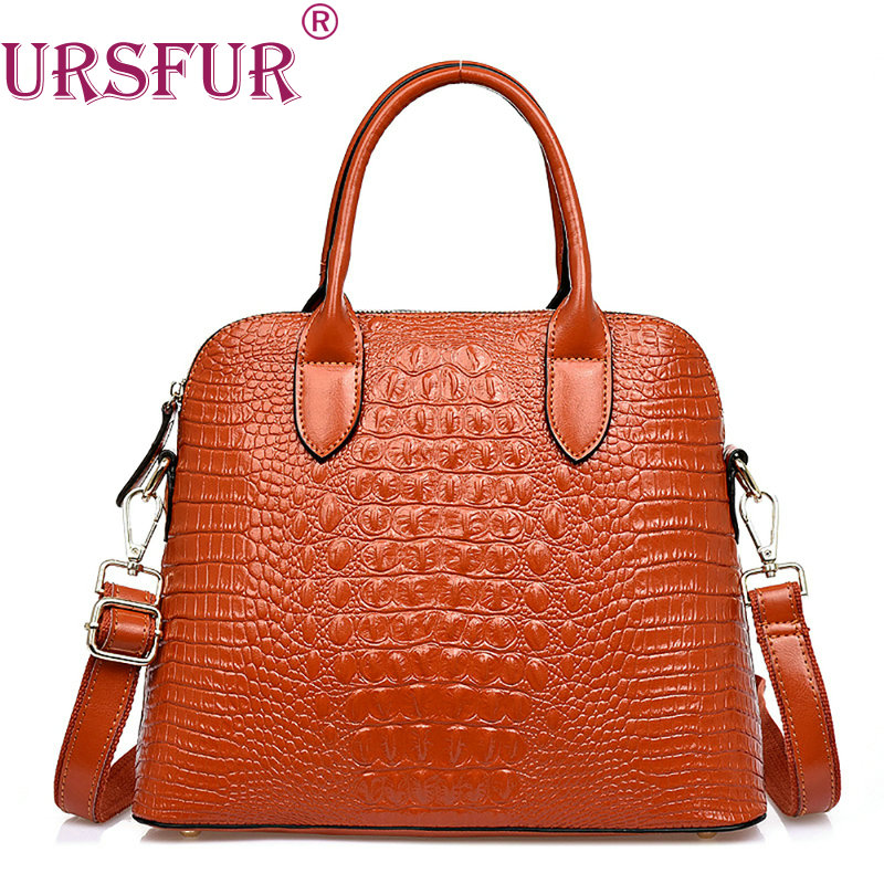 URSFUR Women Messenger Bags Handbags Crocodile pattern Genuine Leather Totes Fashion Shoulder Crossbody Bag Largre Tote Bag new 2016 simple fashion brand designers handbags women composite bag women crocodile pattern totes wallets