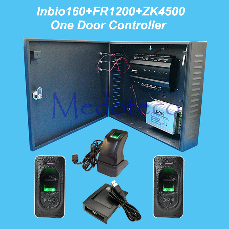 цена на ZK inbio160 door access control panel fingerprint and RFID access control system+12V5A battery function power supply +FR1200