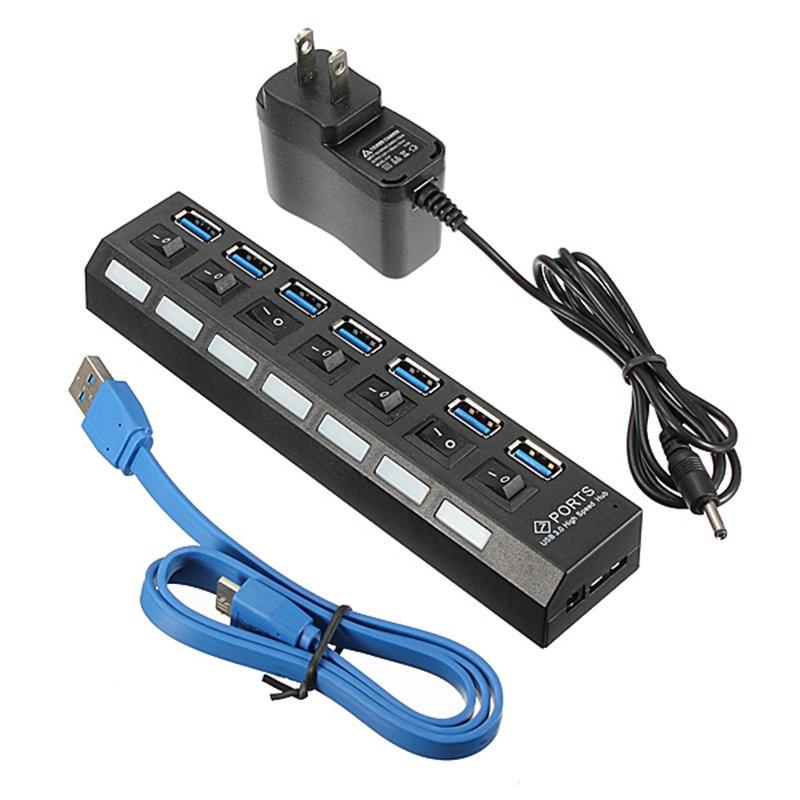 USB Hub USB 3.0 EU/US/UK Power Adapter 7 Port USB 3.0 Hub With On/Off Switch Multi Splitter For Mac/OS Laptop Desktop