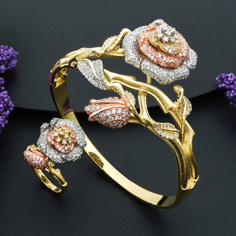 Rose fleur feuille mode cuivre bracelet et bague ensemble pour les filles et les femmes de haute qualité or fête accessoire déclaration bijoux