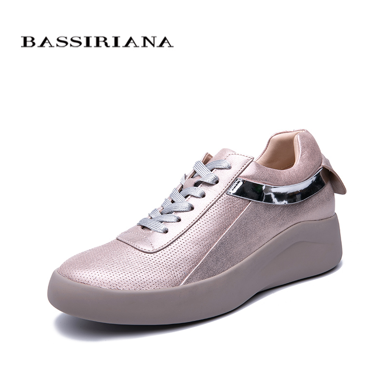 BASSIRIANA New Spring And Autumn Festival Ladies Natural Leather Casual  Shoes Thick Bottom Fashion Comfortable Women's Shoes