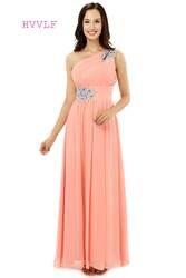 Коралловый 2019 дешевые платья подружки невесты до 50 трапециевидной формы одно плечо длиной до пола шифон бисером Длинные свадебные платья