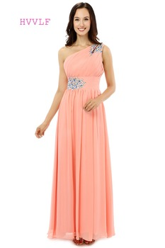Coral 2019 Cheap Bridesmaid Dresses Under 50 A-line One-shoulder Floor Length Chiffon Beaded Long Wedding Party Dresses