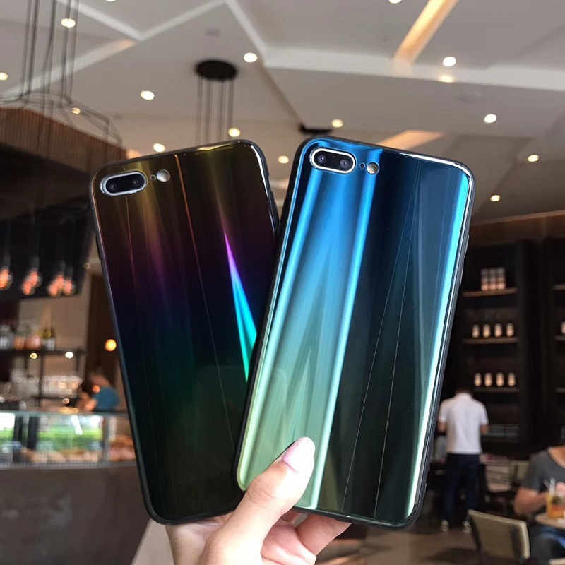 Case For iPhone X 7 8 Plus 6S Cover Laser Aurora Gradient (7)