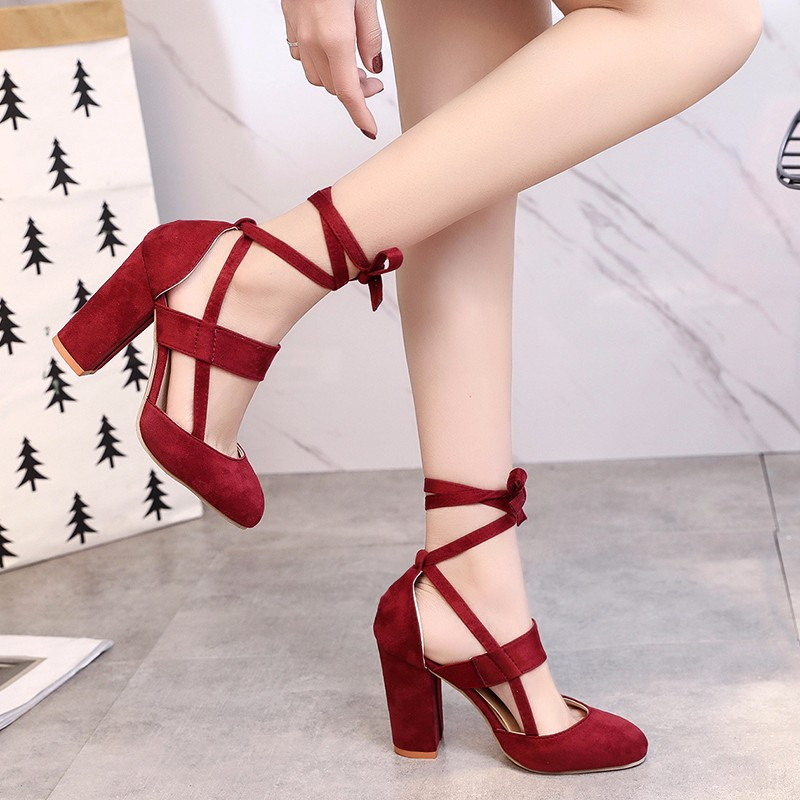Moxxy Women Pumps Fashion Gladiator Heels Shoes Woman High Quality Lace Up High Heels Hollow Women Heels Black Pink Blue Red