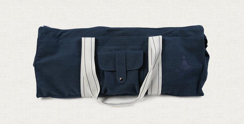 Sac à main bleu marine, bleu foncé, bleu nuit, pour tapis de yoga en coton écologique, housse étui