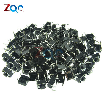 100pcs 6*6*5MM Tactile Push Button Switch 4 pins Micro Switch 4-Pin DIP Momentary Tact Switch Through-Hole image