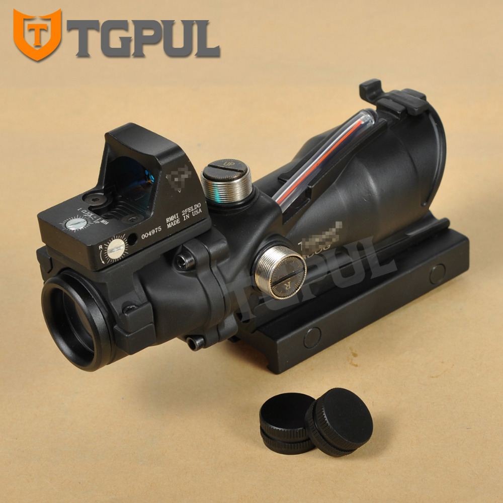 TGPUL Riflescope Red Crosshair 4x32 ACOG Scope Hunting 4x BDC Red Dot Sight Combo 3.25 MOA RMR With Iron Sight Black trijicon acog 4x32 scope red crosshair ballistic reticle bdc red dot sight combo 3 25 moa rmr with iron sight hunting scopes