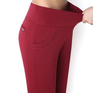 Image 2 - Lưng Cao, Quần Capri 2018 Mùa Đông Ấm Trang Công Việc Văn Phòng Quần Bút Chì Plus Size Nữ Chính Thức Quần Pantalon Femme
