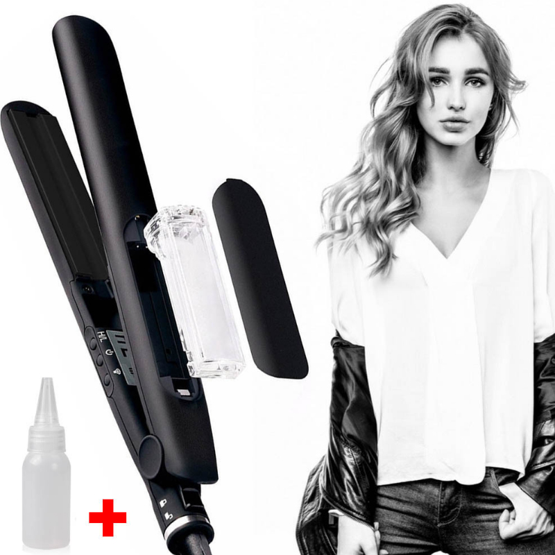 AT FASHION Professional Steam Hair Straightener 2 In 1 Tourmaline Ceramic Vapor Fast Hair Steam Curler Flat Straightening Irons steam ключ portal 2
