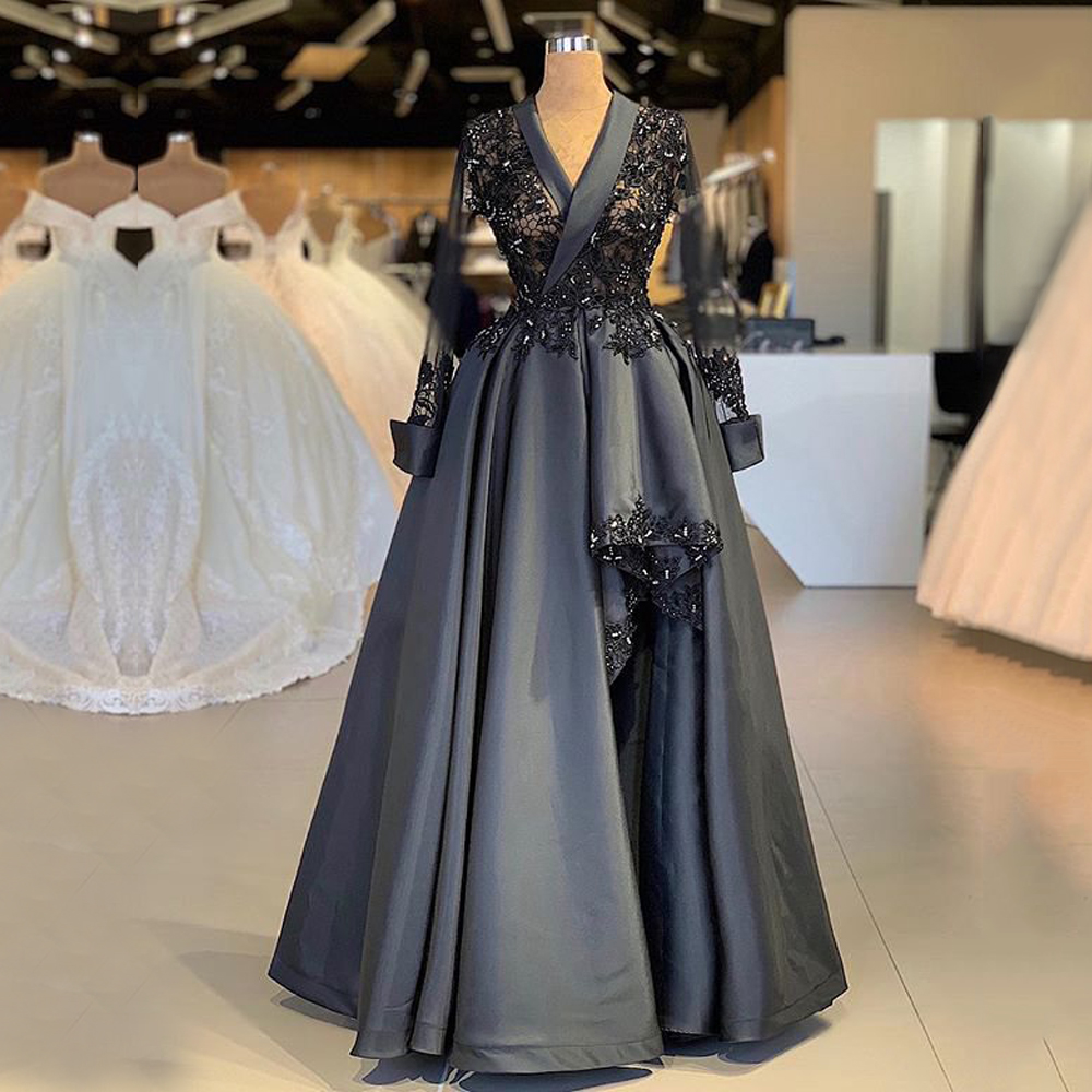 Long Sleeve Arabic Style Women   Evening     Dress   2019 A-line Sheer Top Beaded Lace Women Black Formal   Evening   Gowns robe de soiree