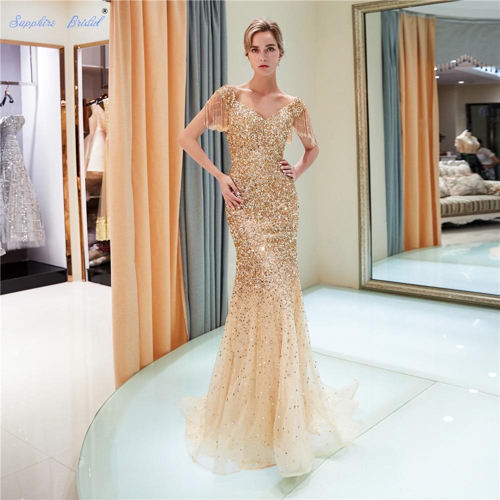 Sapphire Bridal Vestido De Festa 2019 Luxury Long Formal Gowns Abito Da Sera Beaded Sexy Beaded Tassel Sleeve   Evening     Dress