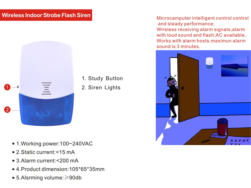 Wireless Indoor Strobe Flash Light Siren For Wireless Security alarm system 433mhz 868mhz цена и фото
