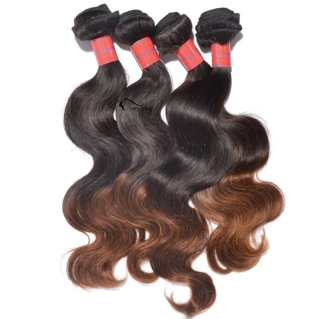 Pretty Lady Hair 4 Bundles Brazilian Body Wave Two Tone Ombre Virgin