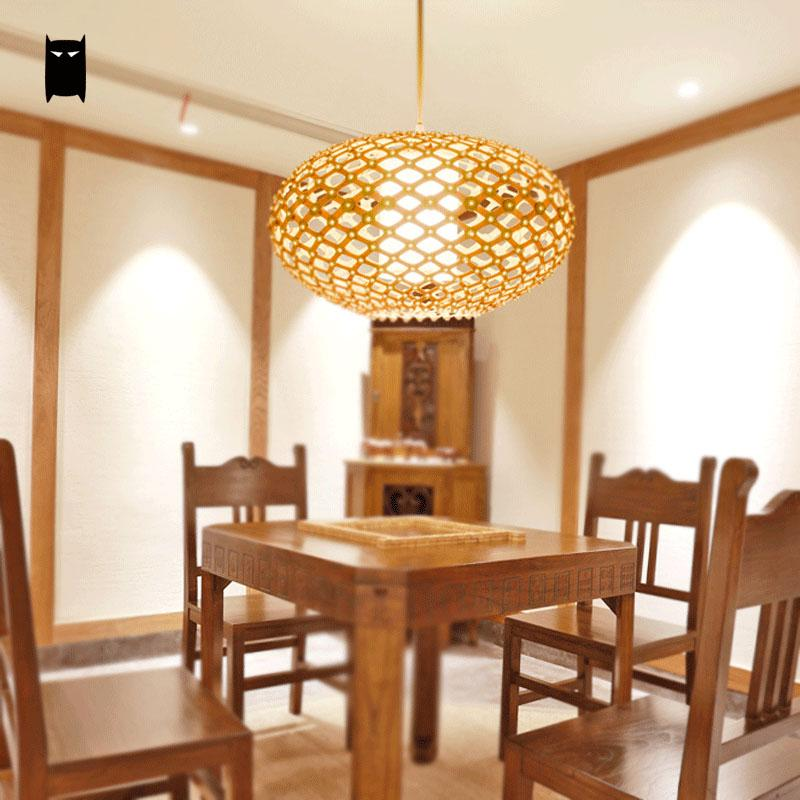 Wood Tatami Pendant Light Cord Fixture Rustic Nordic Asian Japanese Style Hanging Lamp Avize Luminaria Dining Table Room Foyer