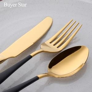 Image 4 - Бесплатная доставка BlackGold Western нержавеющая сталь набор ножей столовые приборы суповая ложка стейк нож обеденный набор вилок столовые приборы для отеля