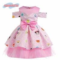 Fancy Mouse Kids Girls Wedding Dress Lace Bow Knot Princess Party Pageant Minnie Tutu Dress Prom