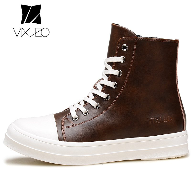VIXLEO Men Boots New Handmade Men PU Leather autumn Winter boots High Quality Winter ankle martin boots for men 2015 men fashion martin boots men pu leather winter ankle boots motorcycle winter men boots