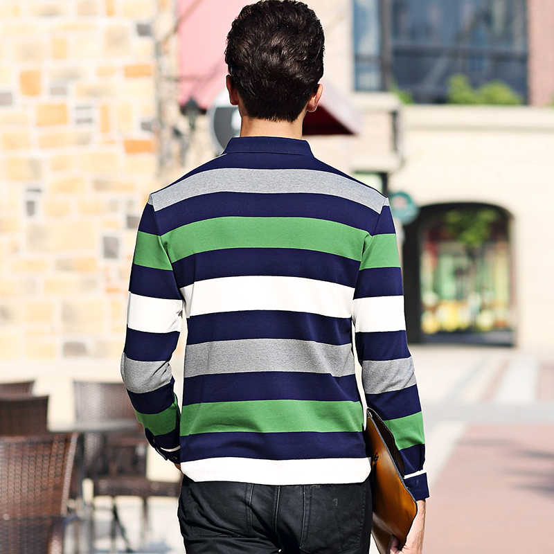 ffb9a167dba ... Business Office Embroidery Poloshirt Men Cotton Striped Lapel Mens  Polos Casual Long Sleeve Polo Shirt Men ...
