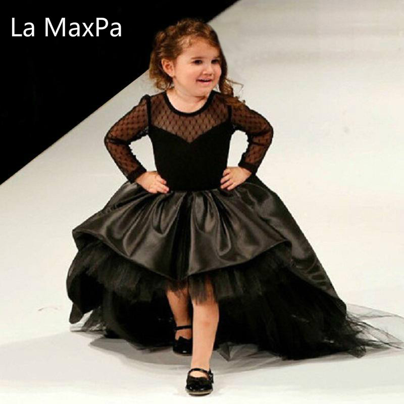 2018 Summer Girl Children's Princess Ball Gown Lovely Wedding Party Dress Long-style Trailing Full Black Piano Show Girls Dress подвесная люстра bohemia ivele crystal 1410 6 160 g v0300 sh28