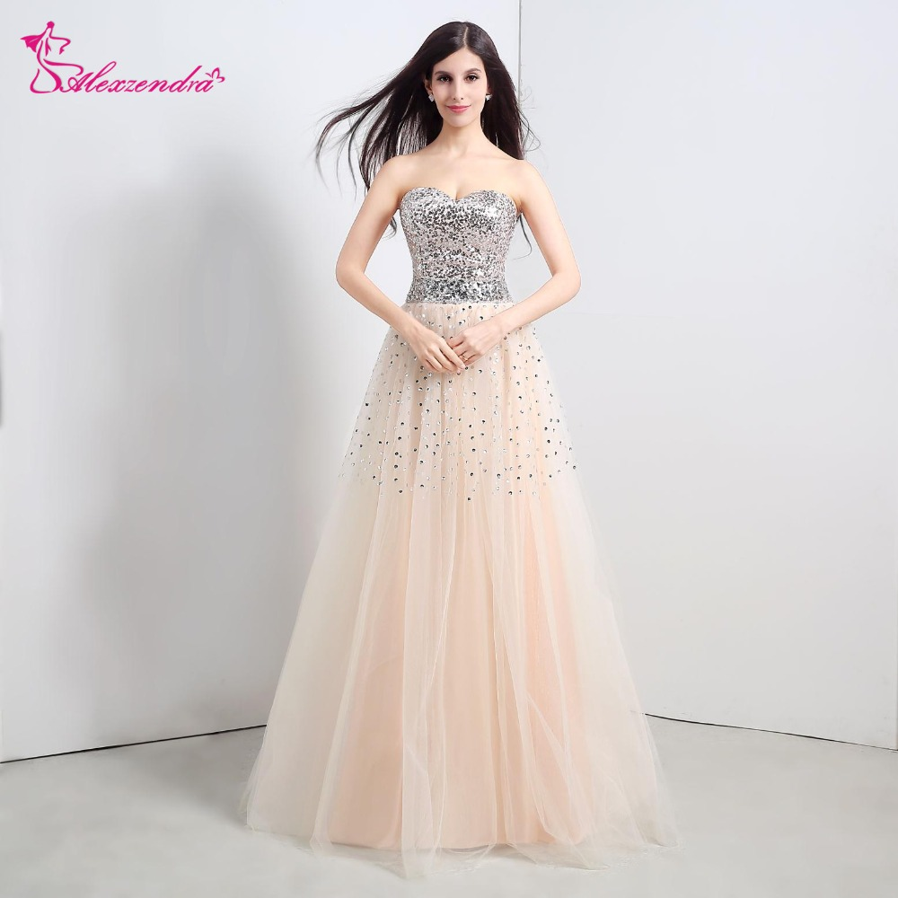 Alexzendra Stock   Dress   Champagne Tulle Beads Cheap   Bridesmaid     Dress   for Wedding Sweetheart Sequins Party   Dresses   Beaded