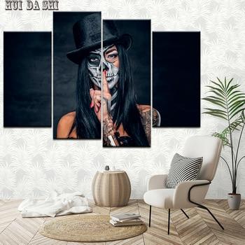 Lienzo pintura chica calavera tatuajes 4 piezas arte de la pared pintura fondos modulares póster impresión hogar Decoración envío gratis