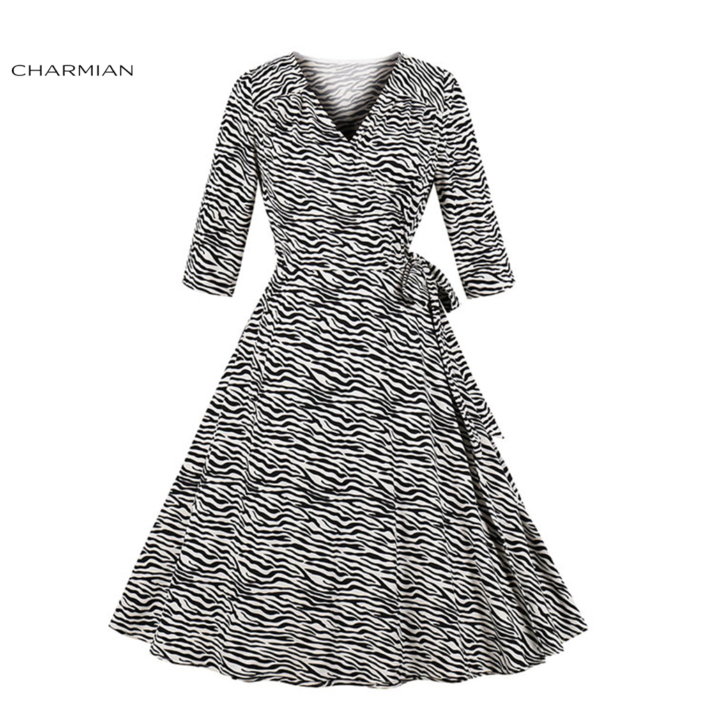 Charmian Women's Fashion Zebra Pattern Bandage V Neck Bracelet Sleeves High Waist Party Swing Dress