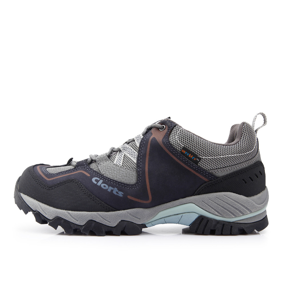 ФОТО Clorts Men Outdoor Shoes Nubuck Leather Hiking Shoes Waterproof Climbing Shoes Anti-Slipping Athletic Shoes HKL-826A/B