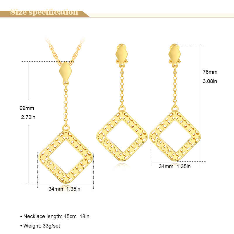 Bijoux ensoleillés ensembles de bijoux à la mode pour les femmes collier boucles d'oreilles pendentif carré Dubai ensembles de bijoux pour fête de mariage anniversaire